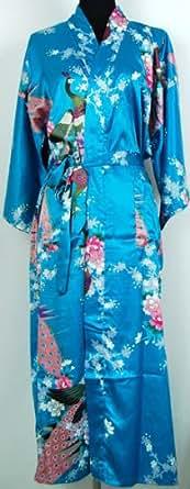 Shanghai Tongue® Lingerie Kimono Robe Sleepwear Teal Blue One Size