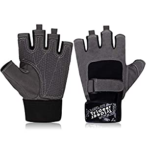 Trideer Trainingshandschuhe mit Doppel Gummi Schutz, Anti-Rutsch Fitness Handschuhe für Bodybuilding Trideer