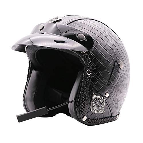 Trend Bluetooth estate fatto a mano retrò casco moto casco integrale maschile e femminile Harley casco moto in pelle di alta qualità nero antivento impermeabile Durevole