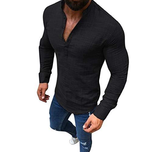 Luckycat Herren Sommerhemd Leinenhemd Langarm Männer Herbst Henley Freizeithemd Hemd Regular Fit Shirt Herren Leinenhemd Hemd Kurzarm Sommer T-Shirt Stehkragen Männer Freizeithemd Slim Fit