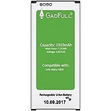 GadFull® Batería para Samsung Galaxy Alpha   Fecha de fabricación del 2017   Corresponde al original EB-BG850BBE   Modelo de Smartphone G850F   Perfecto como batería de repuesto