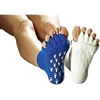 Preisvergleich für Wellness Socken, WEISS YOGA Socken, Zehenspreizer Socken, Pedikür-Socken mit Antirutschnoppen