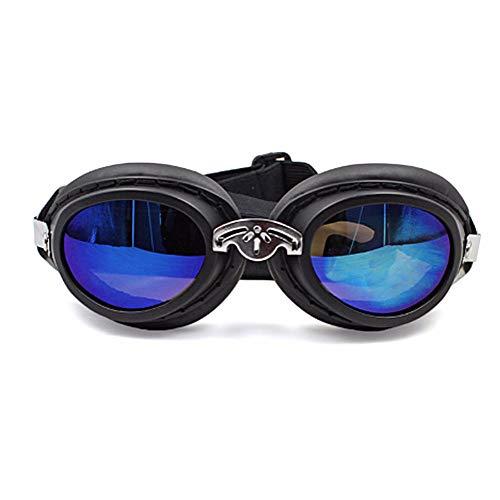 HUILI wasserdichte Hundesonnenbrille, Haustierbrille mit Anti-UV-Windschutz, Sonnenbrille und Faltbarer Modebrille für mittelgroße Hunde,Black
