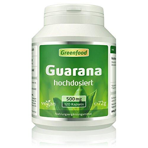 Guarana, 500 mg, hochdosierter Extrakt (4:1), 120 Vegi-Kapseln – natürlicher Muntermacher, die sanfte Alternative zu Kaffee, belebend, magenfreundlich. OHNE künstliche Zusätze, ohne Gentechnik. Vegan.