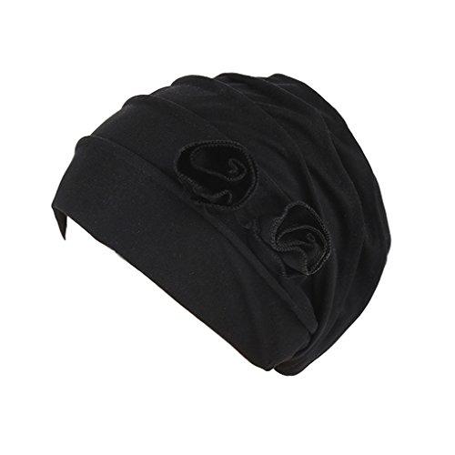 etch Blume Turban Hut Kopftuchs Beanie Kappe Aus Baumwolle für Krebs, Chemo, Haarverlust Kopfbedeckung (Schwarz) (Hut Herzstück)