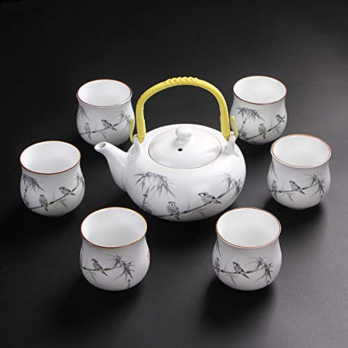 Tea Set Creative Gifts Beautiful and Unique High Quality Bone Celadon Ceramic Creative Gift Rhyme Set Teapot Exquisite Gift Work Fine and Rounded Magpie Twigs Branch-2