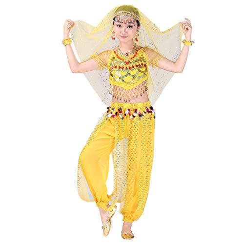 LSAltd Handmade Dance Kostüme, Mode Kinder Mädchen Süße Perlen Quaste Crop Top + Tupfen Pailletten Hosen Bauchtanz Set Ägypten Tanzen ()