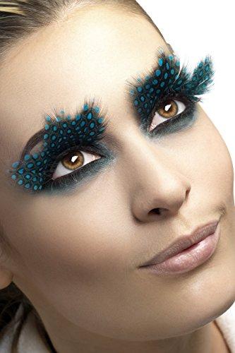 Ideen Kostüm Masken Mit - Smiffys Fever Damen Falsche Wimpern mit getupften Federn, Kleber enthalten, One Size, Schwarz-Blau, 24234