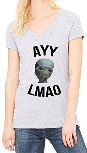 Ayy Lmao Alien Funny Women's V-Neck T-shirt Gris