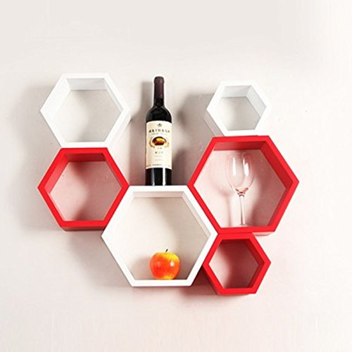 Onlineshoppee Fancy 6 Pcs Hexagonal Wooden Wall Shelf Big Size (10.5 x 10.5 x 4) inch Color-Red/White