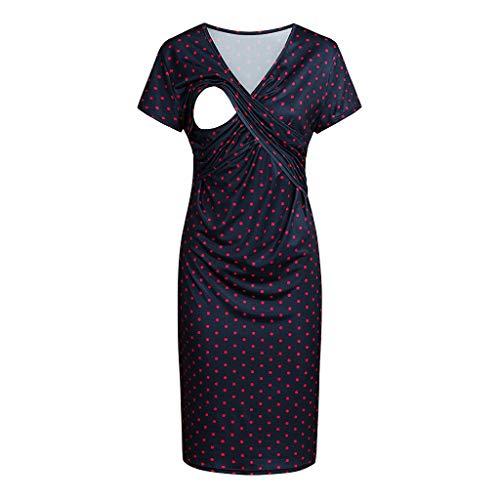 Liusdh Kleid für Damen Schwangerschaft kleider V-Ansatz sleeveless dünnes Normallackknielanges Mutterschaftskleid-Punkt-Druck-Krankenpflege-Stillen-Kleid(Red1,M) Apricot Sleeveless