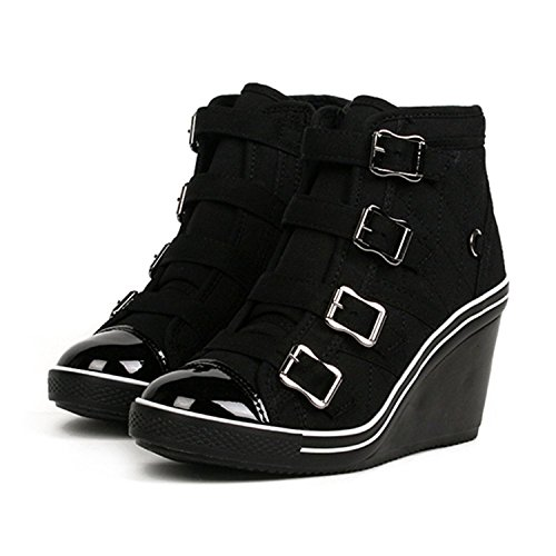 Compensées Baskets Heels Platform Sneakers High Top Bottines Chaussures Holly Band MADE IN KOREA