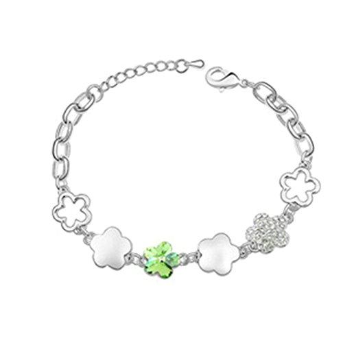 Aooaz placcato in oro bianco braccialetto delle donne, matrimonio braccialetto a catenas CZ Zirconia cubica, Cherry Blossoms verde