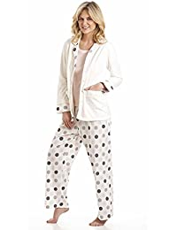 Ladies Misty Dots Spot Print 3 Piece Long Pyjamas & Fleece Bed Jacket Set 57402