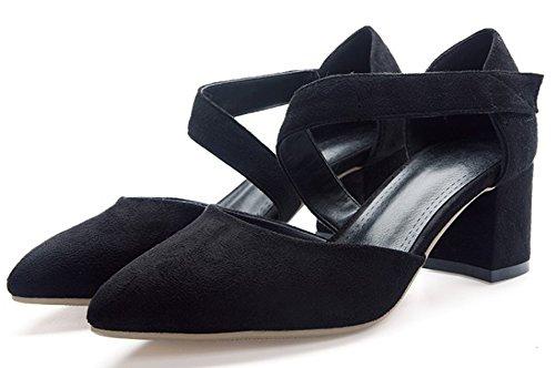 Aisun Femme Mode Bout Pointu Bride Cheville Escarpins Noir