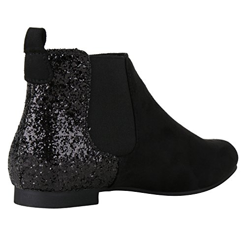 napoli-fashion Damen Stiefeletten Flache Chelsea Boots Leder-Optik Schuhe Gr. 36-41 Jennika Schwarz Negro