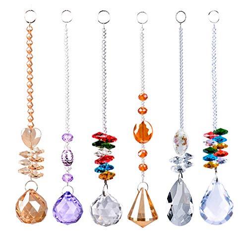 K9 Kristallanhänger mit Sonnenfänger, super klare Kristallglas, hängende Perlen, handgefertigt, Regenbogenfarben, farbenfrohe Kristall-Ornamente