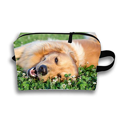 Lazy Golden Retriever Toiletry Bag-Portable Travel Organizer Cosmetic Make Up Bag Case for Women Men Shaving Kit with Hanging Hook for Vacation -
