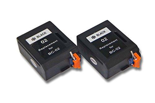 vhbw 2X Druckerpatronen Tintenpatronen Set für Canon BJC20, BJC100, BJC150, BJC200, BJC210 J, BJC230, BJC240 wie Canon BC-01, BC-02, BX-02. - Bc-02 Patrone Schwarz