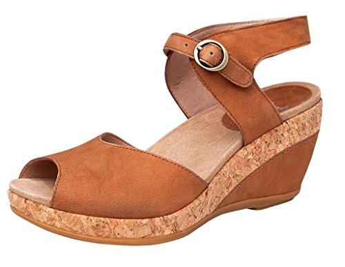 Dansko Women's Charlotte Sandal Camel Milled Nubuck Size 36 EU (5.5-6 M US Women) (Camel Charlotte)