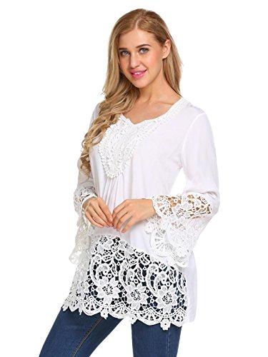 Meaneor Damen Bluse Langarm Casual Tunika Rundhals Oversize Schlupfbluse Shirtbluse Ärmel mit Volant Häckelspitzen Weiß
