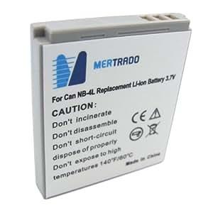 Mertrado - Batterie haute qualité pour CANON NB-4L / NB4L pour Canon Ixus 30 / 40 / 50 / 55 / 60 / 65 / 70 / 75 / 80 IS / 130 (600 mAh)