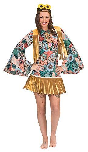 Retro Hippie Kostüm Breanna mit Fransen für Damen - Gr. - Woodstock Festival Kostüm