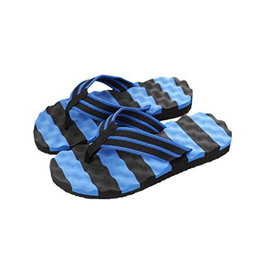 Männer Stripe Flip Flops beiläufige Ribbon Thong Sandalen Sommer Klippzehe Schuhe Outdoor-Strand Pantoffeln Stripe Ribbon Strap