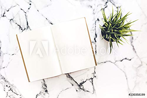 druck-shop24 Wunschmotiv: Top View of workspace and Opened Notebook with Mock up blank Pages on White Marble Background.Flat Lay #230358199 - Bild auf Forex-Platte - 3:2-60 x 40 cm / 40 x 60 cm (Lay Flat Notebook)