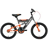 "Townsend Spyda Boys' Mountain Bike Grey/Orange, 11.5"" inch steel frame, 1 speed front and rear v-brakes mtb semi-raised handlebar"