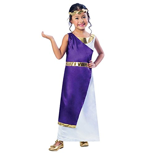 Mädchen Römisch Kostüm Griechische Göttin Buch Woche Tag Kinder Halbschuhe Kostüm lila gold Toga Kleid KOPF KRANZ Blatt - Gold / lila/weiß, 122-128