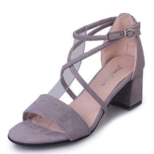 Mode coréenne Joker shoes/loisirs daim à talons hauts sandales C