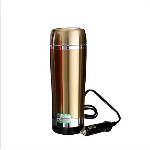 Auto-Wasserkocher Boiling 12 Volt Zigarettenanzünder Heizung Cup Vakuum Isoliert Edelstahl-Gold Edelstahl-Thermoskanne , 3