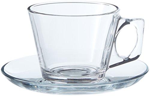 Pasabahce vela servizio tazze tè con piattino, vetro, trasparente, 6 pezzi