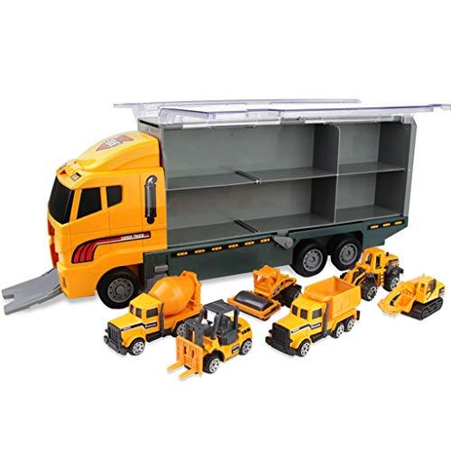 Hffan Autotransporter LKW Spielzeug mit 6 Mini Autos, Kinder Transporter Kindergeburtstag Geburtstag Geschenkt Spiele für Mädchen Junge Kinder ab 3 4 5 Jahren