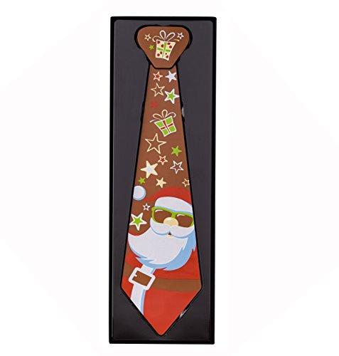 Schokoladen Geschenkpackung Krawatte Weihnachtsmann, 4 Stück je 160g, Größe: 376x120x20 mm