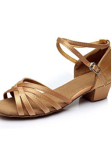 ShangYi Chaussures de danse ( Noir / Marron / Argent / Or / Leopard ) - Personnalisable - Gros talon - Satin / Paillette - Latine Brown