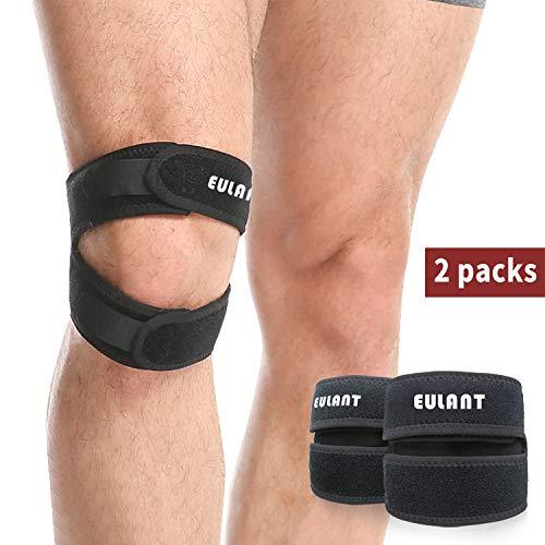 EULANT Patella Bandage, Einstellbare Knieschutz, 2 Stück Patella Kniebandage für Laufen, Springen, Basketball, Wandern,Trekking,Outdoor Sport oder Knie Schmerzlinderung