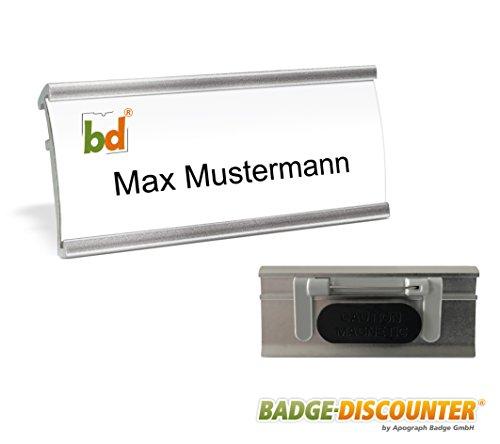 5 Namensschilder magnetisch für Kleidung Komplettset NMSG zum Bedrucken, Magnet, Clip und Nadel montiert, Namensschild zum Anstecken, Aluminium Metall Namenschild mit Druckbögen A4 selbstbeschriften