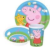 Peppa Pig Wutz Kinderservice mit Teller, Müslischüssel und Trinkbecher aus Melamin