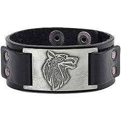 Dawapara Vintage Nordic Viking Fenrir lobo escandinavo Talisman Cuff pulsera de cuero hombres joyería