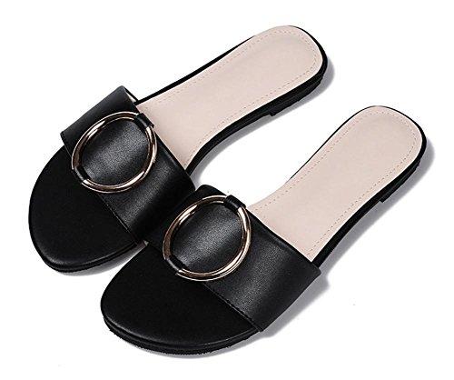 Weibliche Pantoffeln Wort Sommer flache Sandalen und Pantoffeln weibliche weiche Unterseite rutschfeste Frauen Sandalen lässig Strand Pantoffeln weiblich Black