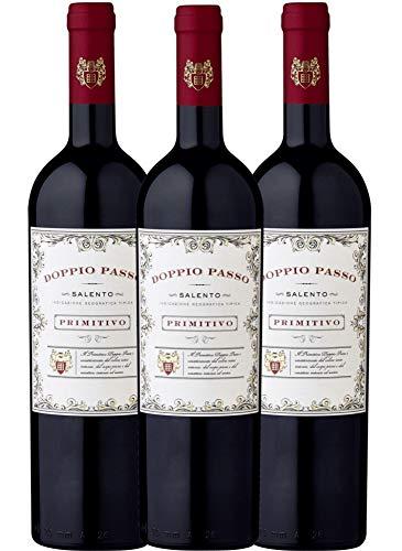 VINELLO 3er Weinpaket Primitivo - Doppio Passo Primitivo Salento 2019 - CVCB mit Weinausgießer | halbtrockener Rotwein | italienischer Wein aus Apulien | 3 x 0,75 Liter