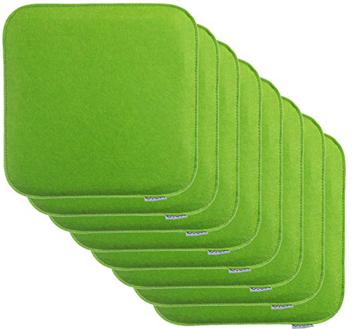 Grüne Outdoor-bänke (Brandsseller Sitzkissen Filz Eckig Stuhlkissen Sitzpolster Auflagen - 35 x 35 x 2 cm (8er-Vorteilspack, Grün))