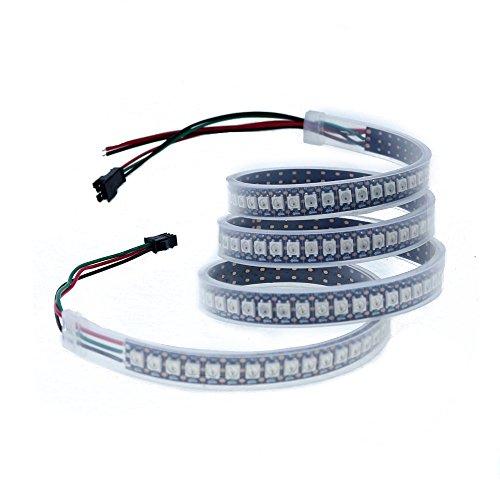 ALITOVE 3.2ft 144 Pixels WS2812B 5050 RGB LED Flexible Strip Light Individually Addressable Waterproof IP67 Black PCB 5V DC