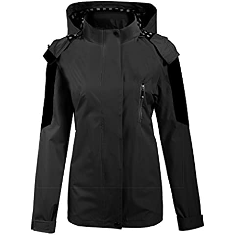 Meaneor Softshell chaqueta impermeable de deporte cortavientos con capucha para mujer Hooded Zip-Up Jacket Outdoor Cycling Running Sport Lightweight Jacket
