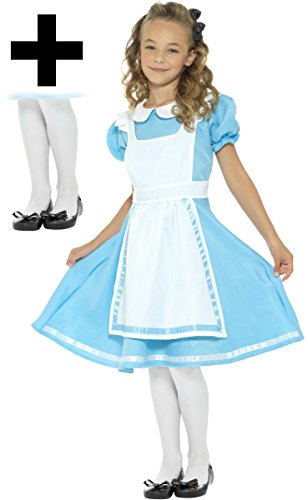 Alice + Tights Girls Fancy Dress Fairytale World Book Day Kids Childrens Costume