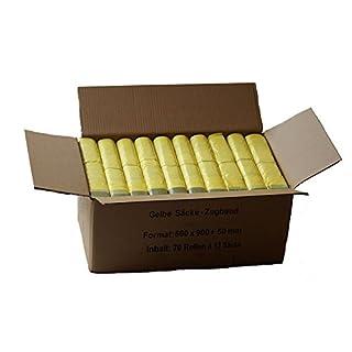 AbfallScout Gelber Sack - Ein Karton mit 70 Rollen (910 Gelbe Säcke) - 15 µm Folienstärke