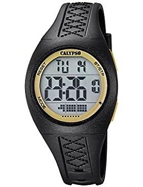 Calypso Unisex Armbanduhr Digitaluhr mit LCD Zifferblatt Digital Display und schwarz Kunststoff Gurt k5668/6