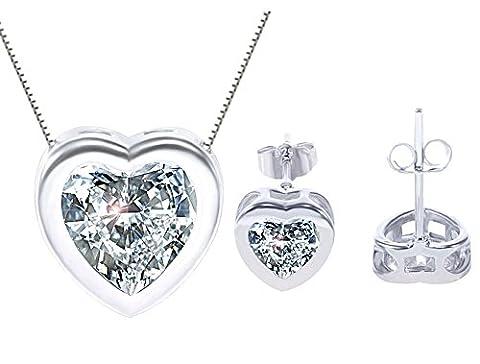 korpikus® Crystal Rhinestone Jewel Shiny Silver ' Heart ' Necklace & FREE Matching Earrings Set in Organza Gift Bag!